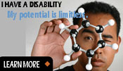 I have a disability, my potential is limitless link button. Image of an Asian man holding a DNA helix in front of his eye.